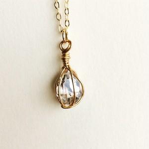 【一点もの】魅力を開花させる 一粒のハーキマーダイヤモンド 原石ネックレス【限定12個】