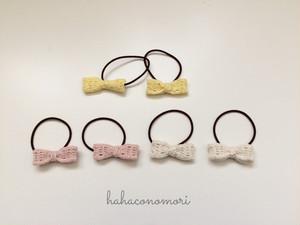 極細レース糸♡ ミニリボンのヘアゴム 全3色