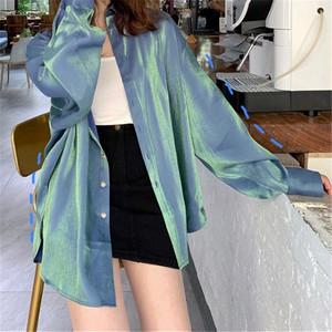 【トップス】絶対流行韓国系POLOネック長袖シングルブレストシャツ41155630