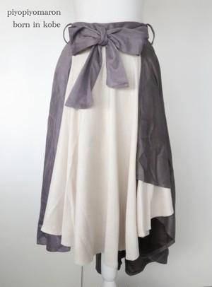スウェード三色フレアスカート  グレー