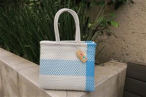 カンクンバッグ Vanidosa (ワンサイズ)ホワイト&水色 かごバッグ