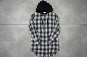 ASKYY / REMOVABLE HOODIE CHECK SHIRTS / BLK