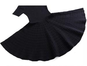【即納】ブラックのみ半袖Aフレアワンピース