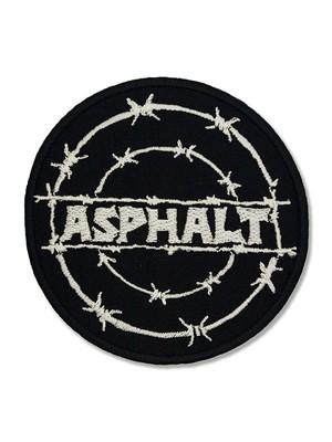 asp-007 アスファルト(ASPHALT)  BARBED WIRE CIRCLE LOGO WAPPEN [wht]