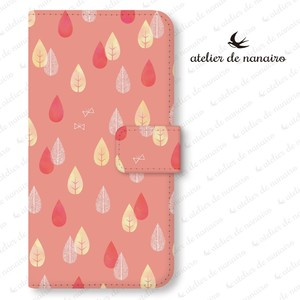 iPhone Max/Plus 手帳型スマホケース【北欧 雨の森_pink】