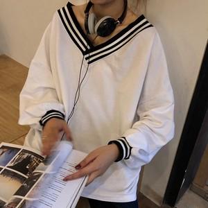 【トップス】シンプル学園風カジュアル長袖春秋Vネックプルオーバーストライプ柄無地パーカー