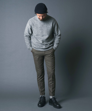 SUPER 100'S WOOL STRETCH FLANNEL TAPERED W PANTS