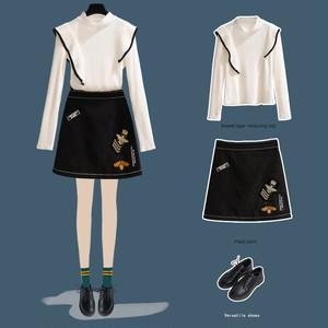 【セットアップ】フリルデザインハーフネックニットセーター+ハイウエスト刺繍スカート2点セット