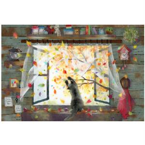 『まてまて~』窓辺の黒猫シリーズ秋 かわいい子猫のイラスト  2Lサイズ プリント