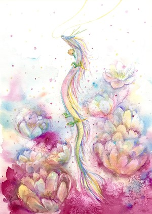 ◯ Dragon in the lotus { 水彩画 ART }