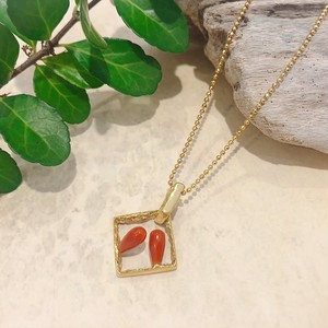 【atelier chinen chinen ×CORALIA】squareネックレス ゴールド しずく 赤サンゴ SV