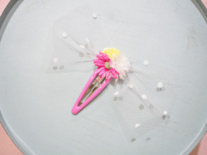 tulle flower snap hair clip〜white〜