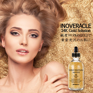【送料無料】INOVERACLE 24K GOLD SOLUTION AMPOULE 純金箔入り美容液 1000mL