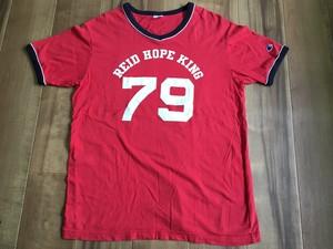 champion チャンピオン ナンバリング カレッジプリント リンガー Vネック Tシャツ XL