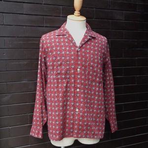 """50~60's """"Pennleigh"""" Pattern Open Collar Long Sleeve Shirt 50~60年代 総柄 開襟 長袖 シャツ"""