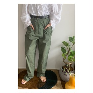 """80's-90's """"Laura Ashley""""vintage olive green floral embroidery high waist pants"""