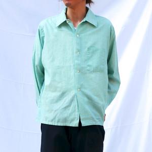 【USED】60s オープンカラーシャツ ミントグリーン 無地