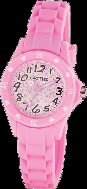 [キッズ腕時計 ガールズデザイン]きらきらラメダイヤル ピンク CAC-91-L05
