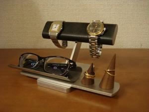 彼氏へのプレゼントに ブラック2本掛け腕時計、ダブルリング、メガネスタンド ★リングスタンド未固定 No.141203