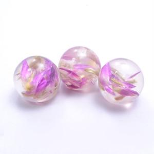 単価¥90 花びら入り 球体パーツ 紫 (大)