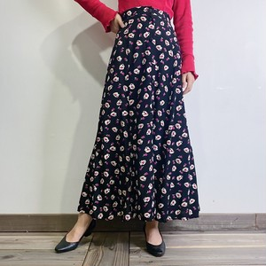 flower base printed rayon skirt【386】