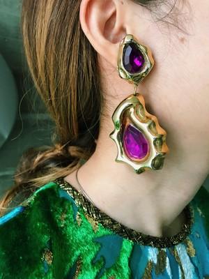 Vintage gold purple earrings ( ヴィンテージ  ゴールド × パープル イヤリング )