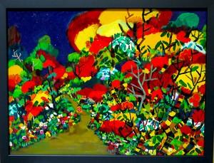 油彩画*秋の散歩道