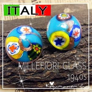 かわいい星とお花柄☆ベネチアン ミルフィオリ ガラス ヴィンテージ イヤリング 1940s ブルー 金箔
