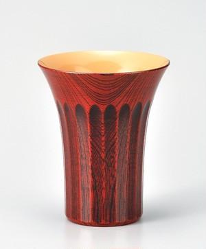 KE10-09 欅 菊彫 麦酒杯 茜白漆