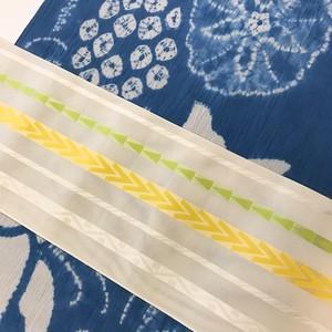 博多織紗半幅帯(白地×黄、鶸)