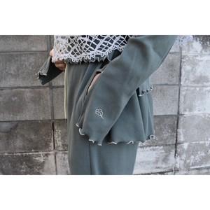 梨凛花 mellow rib peplum pants (green)