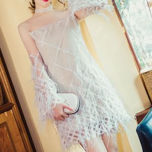 【2色】フェザー フリンジ オフショル風 シアー ワンピース 結婚式二次会 結婚式コーデ 結婚式ドレス お呼ばれコーデ ワンピースパーティー パーティードレス 大人女子 結婚式アイテム