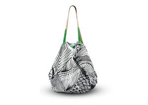 monmecciバッグ (革持手)|大きな幾何学模様バッグ