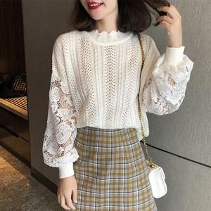 【トップス】美人度アップゆったりデザイン透かし彫り着やせニットセーター