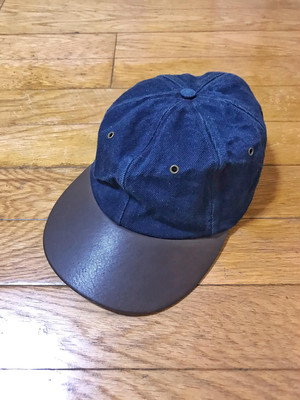 80s Eddie Bauer denim x leather bill cap made in USA