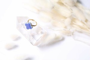 087-r 伝統文化品美濃焼多治見四つ葉タイル指輪・リング(フリーサイズ) ※証明書付