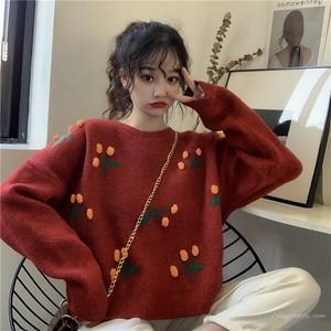 【トップス】秋冬スウィート清新キュートフルーツプルオーバーニットセーター
