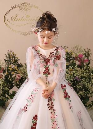 kids fashion オーガンジー 総刺繍 ロングドレス ドレス 子供用 刺繍 かわいい 花柄 発表会 演奏会 海外ドレス 小花柄 花 ビジュー