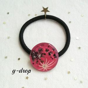 月のアート ヘアゴム [* Full moon -pink *]  夜空の綺麗な季節にオススメ☆彡