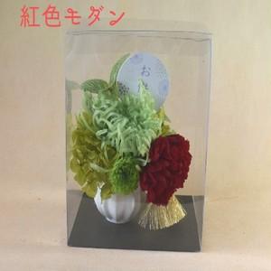 プリザーブドフラワーのモダンなお供え花クリアケース入 ①