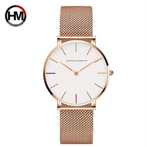 36ミリメートル新着ローズゴールド黒シンプルなバウハウスのデザイン日本クォーツレディースステンレス鋼超薄型防水女性の腕時計3690-B36-WFF