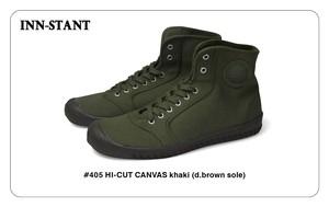 #405 HI-CUT CANVAS khaki (d.brown sole) INN-STANT インスタント 【消費税込・送料無料】