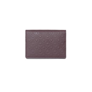 WM × PORTER MARQUETRY PATTERN EMBOSSED LEATHER CARD CASE - BURGUNDY