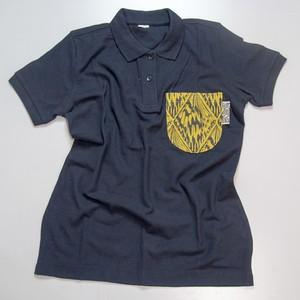 ポロピカルシャツ ネイビー×オオゴマダラ黄