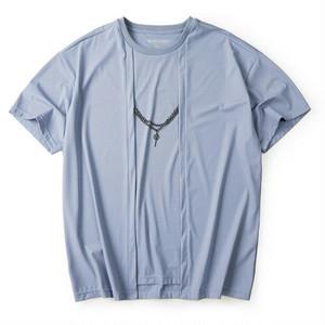 真ん中チェーンTシャツ。大きいサイズブルーカラー
