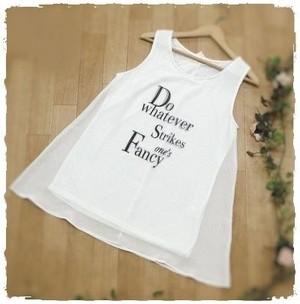 シフォン重ね ロングTシャツ ホワイト M・L