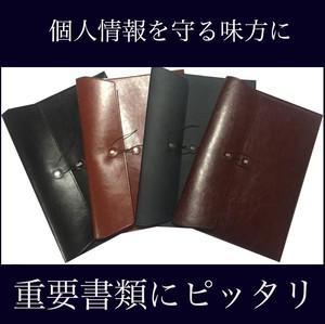 重要書類にぴったり! A4 書類収納ケース 横型 puレザー 革  資料 ビジネス レター 契約書(黒・紺・茶色)