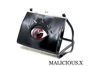 eye square metal clasp shoulder bag / red marble