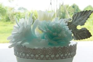 blue flower candle ブルーフラワーキャンドル