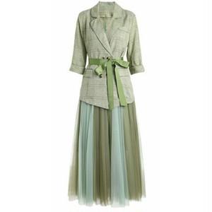 送料無料/スーツセットアップ/茶色/赤/緑/七分袖/チェック柄ジャケット+チュールプリーツロングスカート